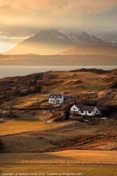 Cuillin Sunset Tarskavaig Isle of Skye Scotland. Canvas Print by Barbara Jones