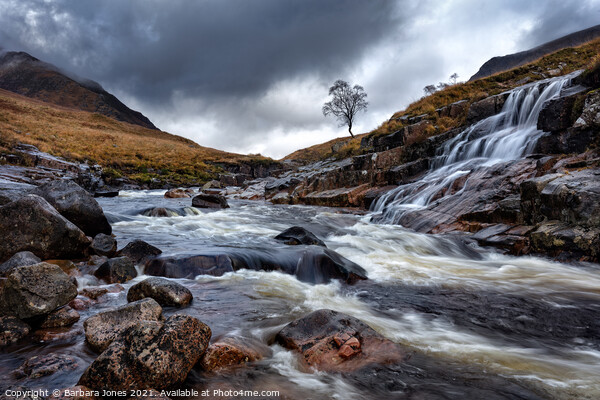 Glen Etive Waterfalls and River Scotland Canvas Print by Barbara Jones