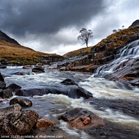 Buy canvas prints of Glen Etive Waterfalls and River Scotland by Barbara Jones