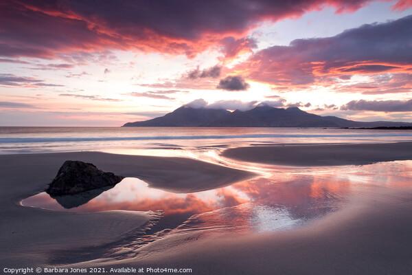 Singing Sands at Sunset  Isle of Eigg Scotland. Framed Mounted Print by Barbara Jones