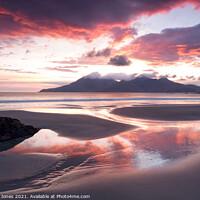 Buy canvas prints of Singing Sands at Sunset  Isle of Eigg Scotland. by Barbara Jones