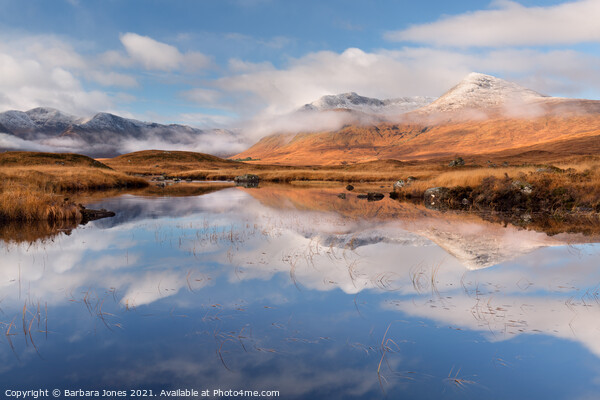 Blackmount in Autumn Misty Hills Rannoch Scotland Canvas Print by Barbara Jones
