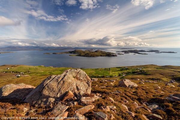 Summer Isles from Hill of the Fairies Coigach Scot Canvas Print by Barbara Jones