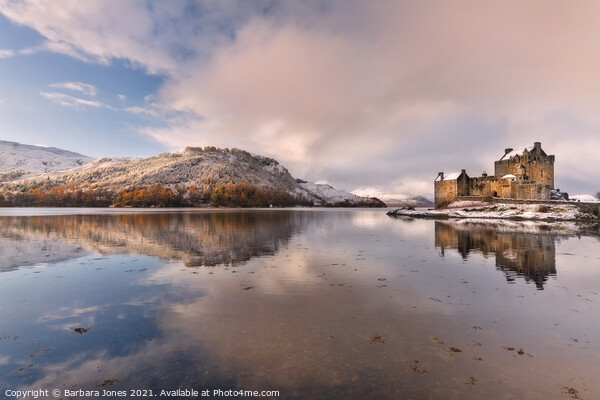 Eilean Donan Castle Winter Reflection Loch Duich S Framed Print by Barbara Jones