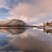 Buy canvas prints of Eilean Donan Castle Winter Reflection Loch Duich S by Barbara Jones