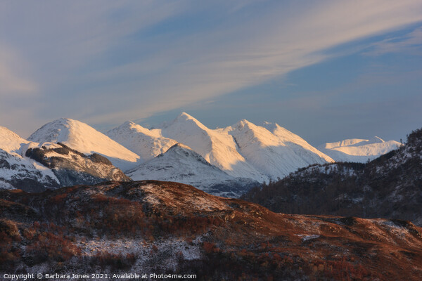 Five Sisters of Kintail in Winter Scotland Canvas Print by Barbara Jones