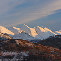 Buy canvas prints of Five Sisters of Kintail in Winter Scotland by Barbara Jones