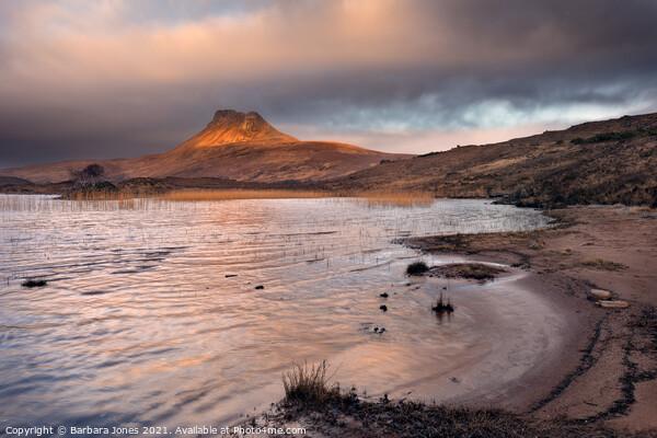 Stac Pollaidh and  Loch Lurgainn Sunrise  Scotland Canvas Print by Barbara Jones