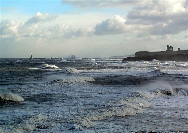 Coast - Tynemouth big sea running  Framed Print by David Turnbull