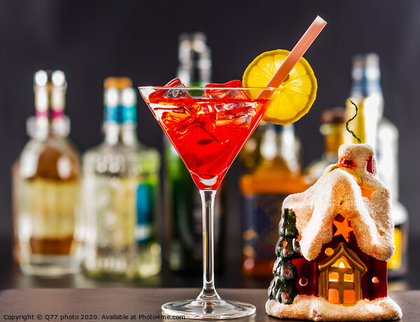 Coctail and beautiful Christmas house, candle, bottle background, xmas set Print by Q77 photo