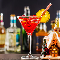 Buy canvas prints of Coctail and beautiful Christmas house, candle, bottle background, xmas set by Q77 photo