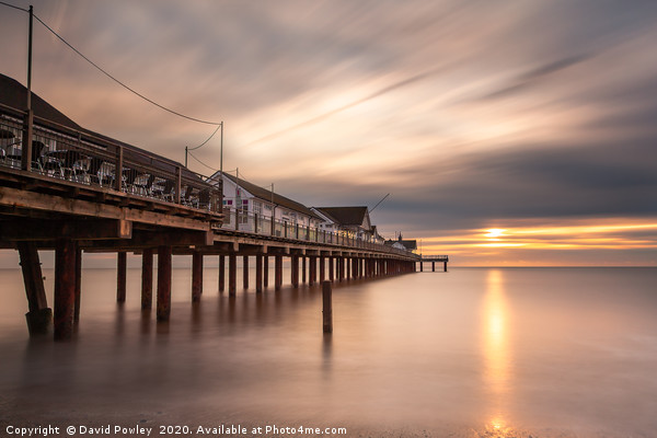 Autumn sunrise over Southwold Pier Framed Mounted Print by David Powley