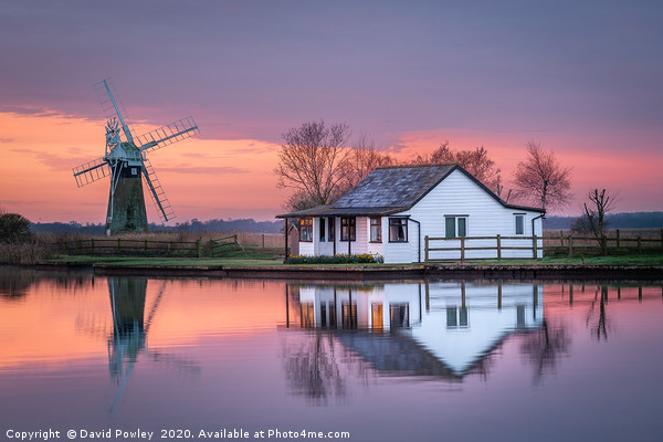 Dawn reflections on the Norfolk Broads Framed Mounted Print by David Powley