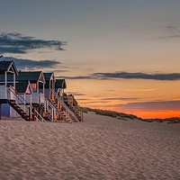 Buy canvas prints of Wells-next-the-sea Beach hut sunset by David Powley