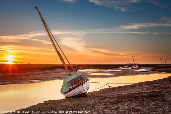 Blakeney low tide sunset Framed Mounted Print by David Powley