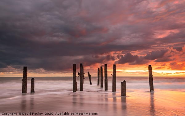 Dawn colours over Happisburgh Beach Framed Mounted Print by David Powley