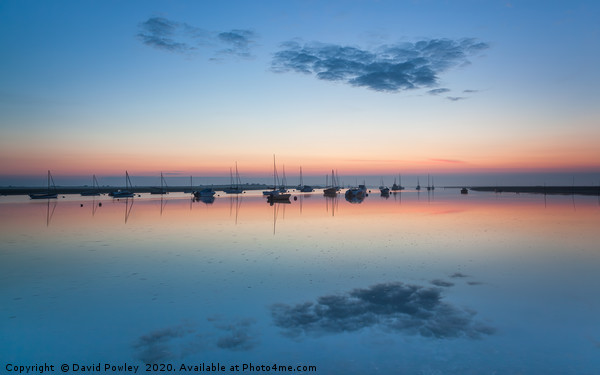 Misty dawn at Brancaster Staithe Framed Mounted Print by David Powley