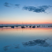 Buy canvas prints of Misty dawn at Brancaster Staithe by David Powley