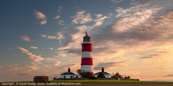Evening light over Happisburgh Lighthouse Framed Mounted Print by David Powley