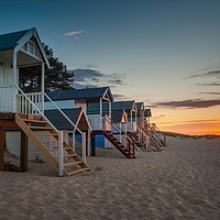 Buy canvas prints of Beach sunset at Wells-next-the-sea by David Powley