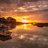 Buy canvas prints of Blakeney Harbour Sunset by David Powley