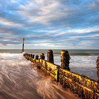 Buy canvas prints of Evening light on the beach at Cromer by David Powley