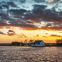 Buy canvas prints of Norfolk Broads winter sunset by David Powley