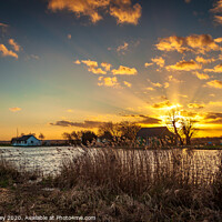 Buy canvas prints of Thurne winter sunset by David Powley
