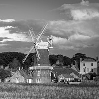 Buy canvas prints of Evening Light on Cley Mill Monochrome by David Powley