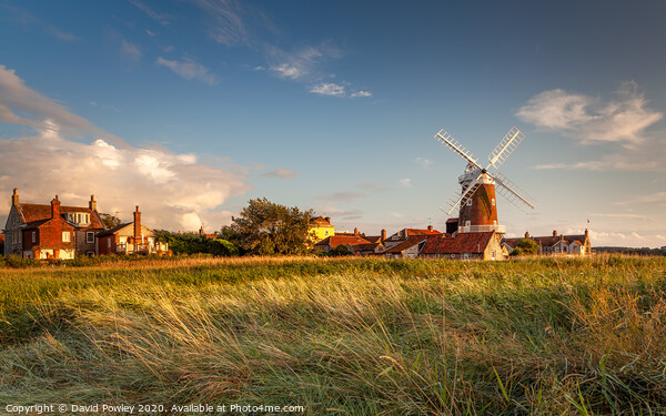 Evening light over Cley Mill Framed Mounted Print by David Powley