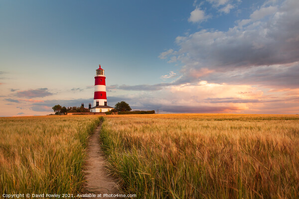 Clouds Over Happisburgh Lighthouse Norfolk Framed Mounted Print by David Powley