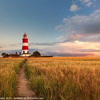 Buy canvas prints of Clouds Over Happisburgh Lighthouse Norfolk by David Powley