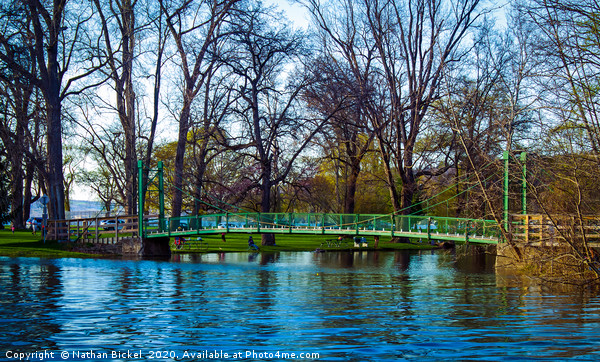 The Green Footbridge Framed Mounted Print by Nathan Bickel