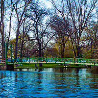 Buy canvas prints of The Green Footbridge by Nathan Bickel