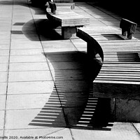 Buy canvas prints of Bench shadows by Theo Spanellis