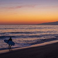 Buy canvas prints of Sunset Surfer by Dean Packer