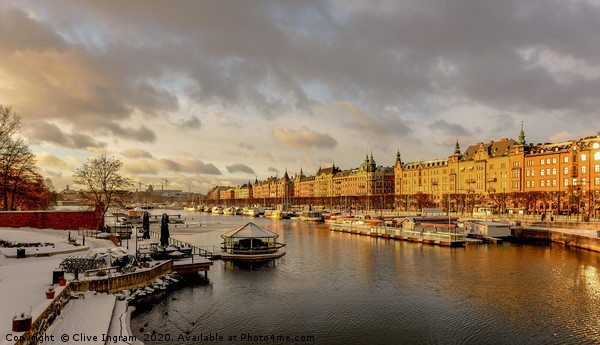 Stockholm in winter Canvas print by Clive Ingram