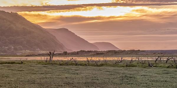 Late Summer Sunset Across Porlock Marsh Canvas Print by Shaun Davey