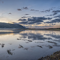 Buy canvas prints of Reflections of Clouds - Sunset on Porlock Marsh by Shaun Davey