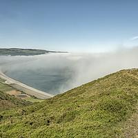 Buy canvas prints of Sea fret over Bossington Beach, Exmoor by Shaun Davey