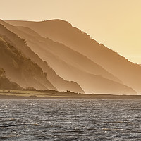 Buy canvas prints of Sunset behind Foreland Point, Exmoor by Shaun Davey