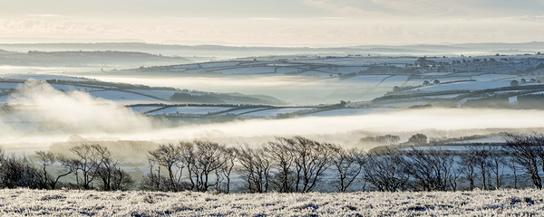 Snowy, misty view from Dunkery Canvas Print by Shaun Davey