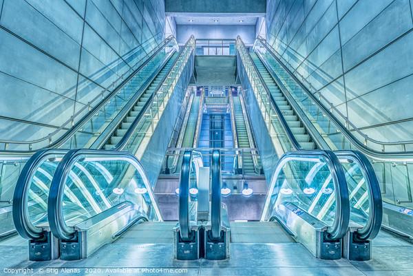 escalators in a metro-station in Copenhagen Acrylic by Stig Alenäs