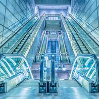 Buy canvas prints of escalators in a metro-station in Copenhagen by Stig Alenäs