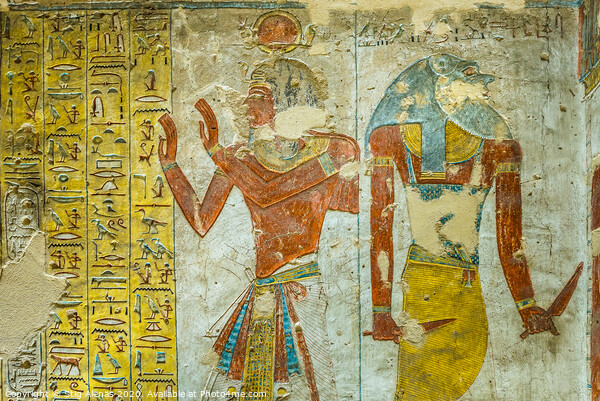 Ancient egyptian painting of two gods in a tomb in the valley of the kings Framed Mounted Print by Stig Alenäs