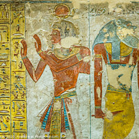 Buy canvas prints of Ancient egyptian painting of two gods in a tomb in the valley of the kings by Stig Alenäs