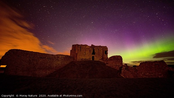 DUFFUS CASTLE AURORA BOREALIS Framed Print by Moray Nature