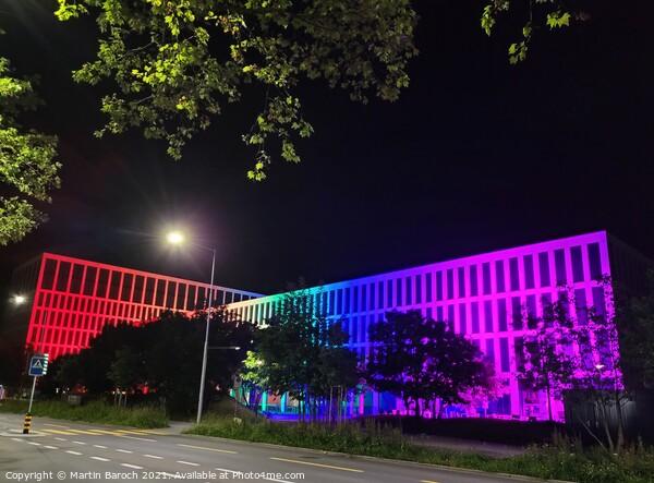 Rainbow-style Illuminated Building  Acrylic by Martin Baroch