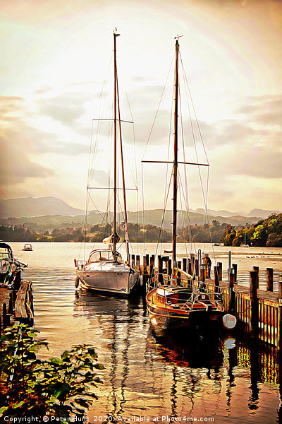 Moored yachts at Windermere Framed Mounted Print by Peter Hunt