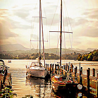 Buy canvas prints of Moored yachts at Windermere by Peter Hunt